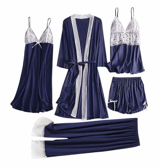 DESIBA 5pc Women Satin Lace Camisole Women's Sexy Basic Plain Lace Slim Sleepwear Pyjama Set Shorts Nightdress Robe Pajamas Lingerie Lace Simulation Silk Pajamas Set(Navy S)