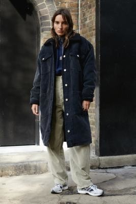 BDG Borg Lined Corduroy Coat - Black XS at Urban Outfitters