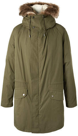 Yves Salomon Cotton-Blend Hooded Down Parka With Detachable Shearling Lining