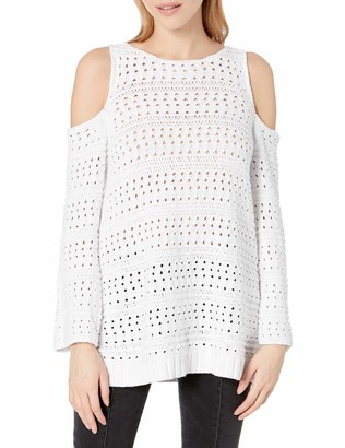 525 America Women's Cotton Pointelle Cut Out Shoulder Sweater