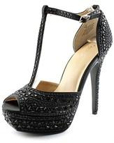 Thalia Sodi Flor Women Open Toe Canvas Black Platform Sandal.