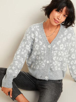 Old Navy Cozy Leopard-Print V-Neck Cardigan Sweater for Women