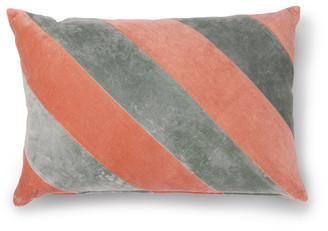 HKliving - Striped Cushion Velvet Grey/Nude - velvet