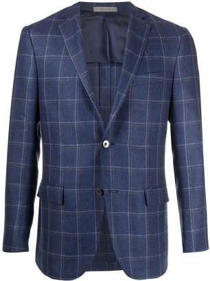 Corneliani checked fine knit suit