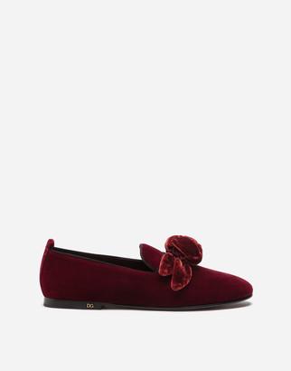 Dolce & Gabbana Velvet Slippers With Satin Bow