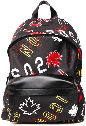 DSQUARED2 Black Icon Synthetic Fiber Multicolor Print Backpack