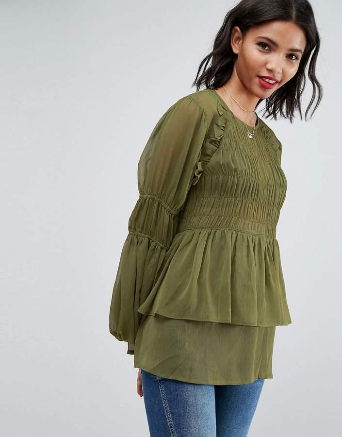 8957b4776dc6 Design Sheer Crinkle Blouse With Poets Sleeve