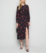 New Look Rose Print Puff Sleeve Midi Dress