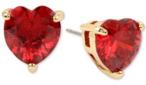 Betsey Johnson Colored Cubic Zirconia Heart Stud Earrings