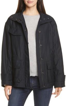 Vince Solid Flap Pocket Zip Anorak Jacket