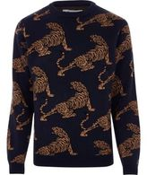Bellfield River Island Mens Black tiger print knit jumper