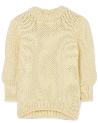 Ganni Julliard Mohair And Wool-blend Sweater - Yellow