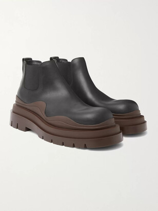 Bottega Veneta Exaggerated-Sole Leather Chelsea Boots