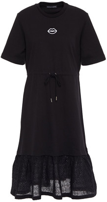 Markus Lupfer Serena Broderie Anglaise-paneled Cotton-jersey Dress