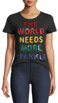 """Alice + Olivia Rylyn """"More Sparkle"""" Sequined Short-Sleeve Crewneck Top"""