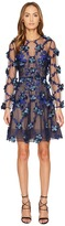 Marchesa 3D Embroidered Long Sleeve Cocktail Women's Dress