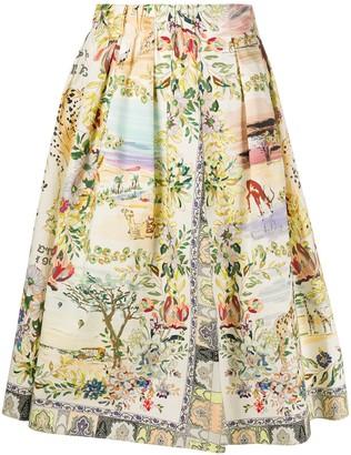 Etro Nature Print Full Shape Skirt
