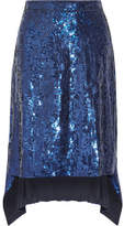 Altuzarra Oleander Asymmetric Sequined Silk-chiffon Skirt - Royal blue