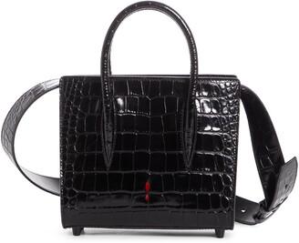 Christian Louboutin Mini Paloma Croc Embossed Leather Satchel