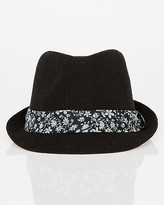Le Château Floral Print Linen Fedora Hat