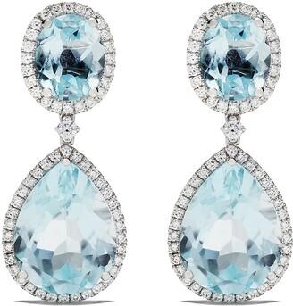 Kiki McDonough 18kt white gold Kiki Classics oval, pear drop blue topaz and diamond earrings