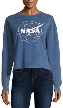 Fifth Sun Womens Crew Neck Long Sleeve NASA Sweatshirt Juniors