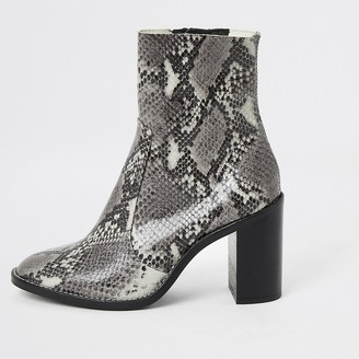 River Island Grey snake print leather heel sock boots