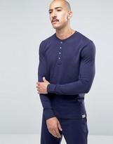 Paul Smith Long Sleeve Henley Top In Slim Fit Navy