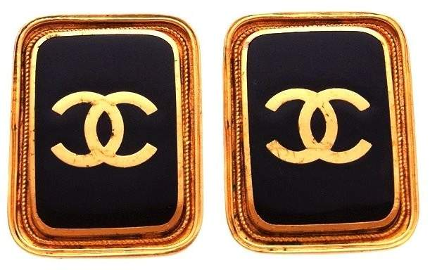 Chanel CC Logo Gold Tone Metal Black Quad Earrings