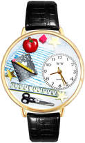 Whimsical Watches Personalized Teacher Womens Gold-Tone Bezel Black Leather Strap Watch