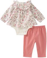 Absorba White & Coral Floral Skirted Bodysuit & Leggings - Infant
