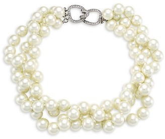 Kenneth Jay Lane 3-Row Twisted Glass Pearl Choker Necklace