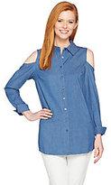 As Is Denim & Co. Button Front Cold Shoulder Denim Tunic