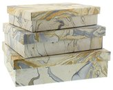 HomArt Marbleized Paper Nesting Boxes - Set of 3 (Blue)