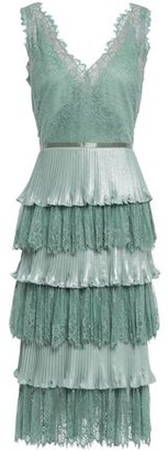 Marchesa Tiered Satin-trimmed Plisse-lame And Lace Dress