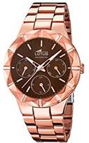 Lotus Women's Quartz Watch with Brown Dial Analogue Display and Stainless Steel Rose Gold Plated Bracelet 15921/2