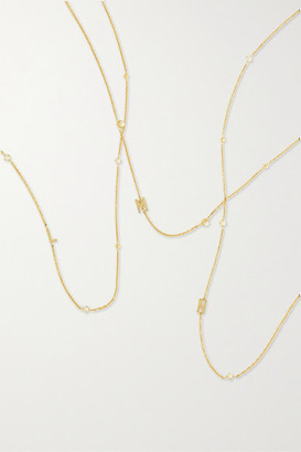 STONE AND STRAND Initial 14-karat Gold Pearl Necklace - B