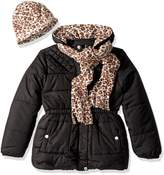 Pink Platinum Toddler Girls' Quilted Puffer with Hat and Scarf