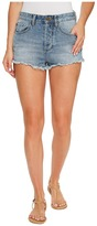 Amuse Society Easton Mid-Rise Denim Shorts in Faded Indigo