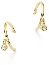 Zoë Chicco 14K Yellow Gold Tiny Huggie Hoop Earrings with Dangling Diamonds