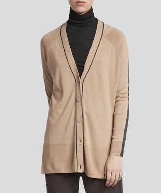 Atm Silk Cashmere Colorblock Cardigan - Latte/ Charcoal Combo