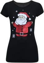 Thever Women Ladies Cap Short Sleeve Christmas Santa Claus Print Top T-shirt