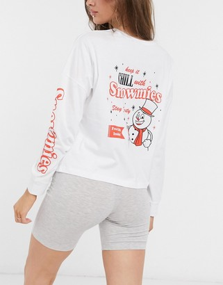 ASOS DESIGN Christmas chill snowmies slouchy long sleeve tee and legging short pyjama set in white and grey