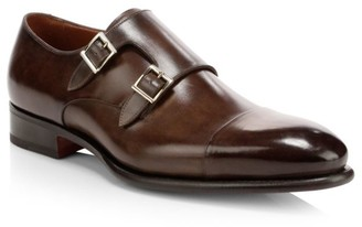 Santoni Ira Double Monk Strap Leather Loafers