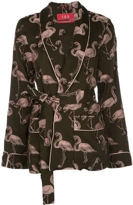 F.R.S For Restless Sleepers Flamingo-Jacquard Smoking Jacket