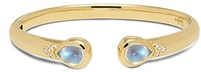 Temple St. Clair 18K Yellow Gold Classic Hinge Bracelet with Royal Blue Moonstone and Diamonds