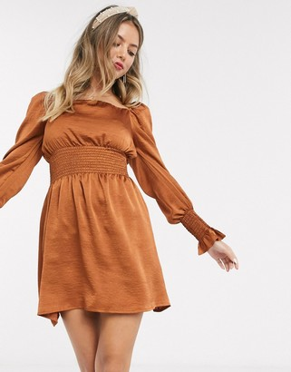 John Zack satin shirred waist mini skater dress in copper