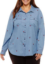 Liz Claiborne Roll Cuff Boyfriend Shirt- Plus