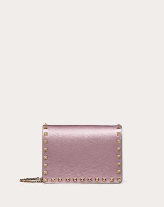 Valentino Rockstud Metallic Grainy Leather Chain Pouch Women Light Pink 100% Pelle Di Vitello - Bos Taurus OneSize