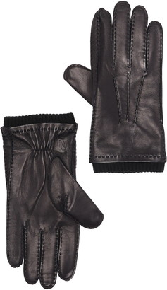 Bruno Magli Ribbed Cashmere Lined Leather Gloves